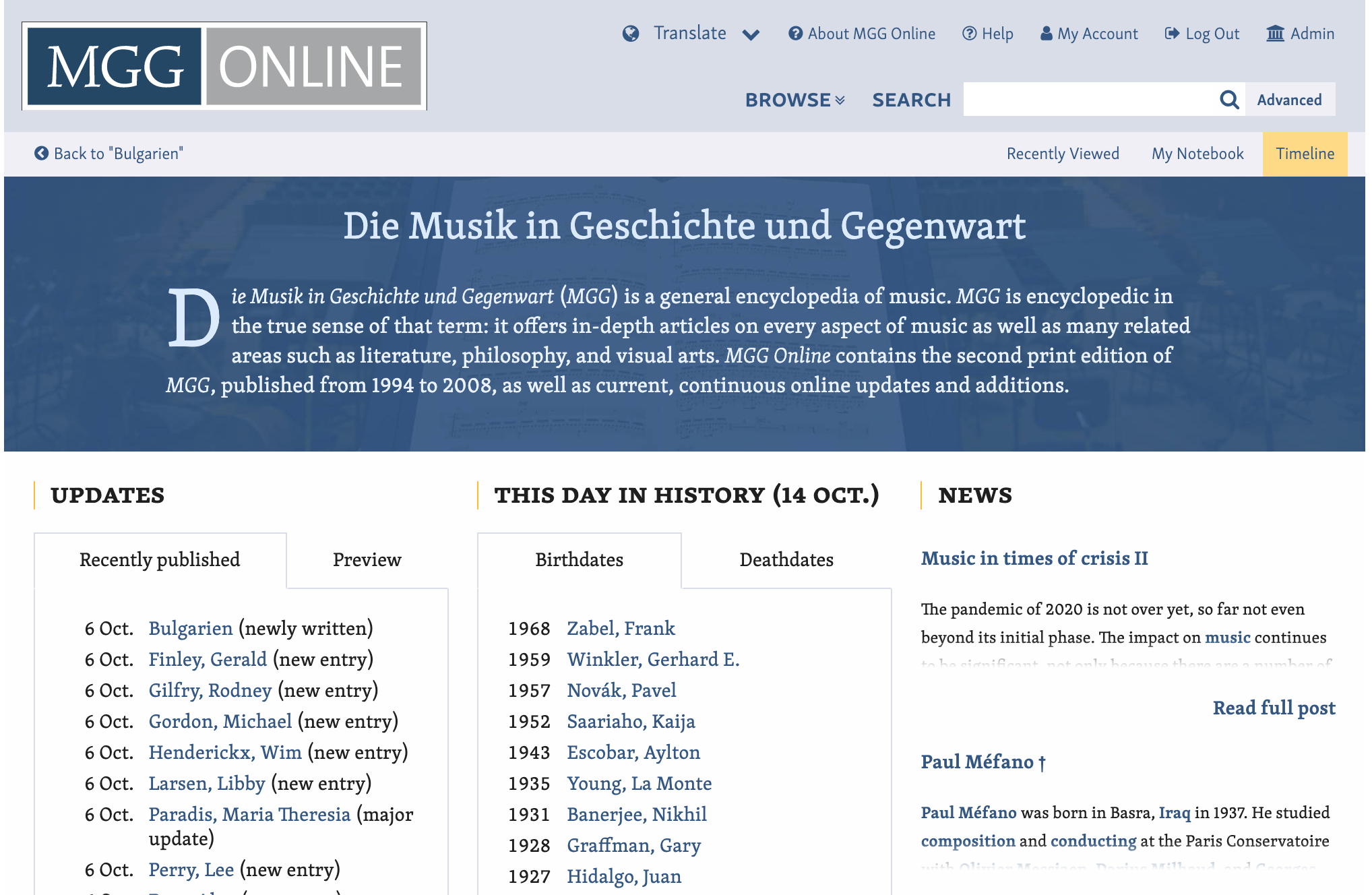 screen shot of mgg online website homepage